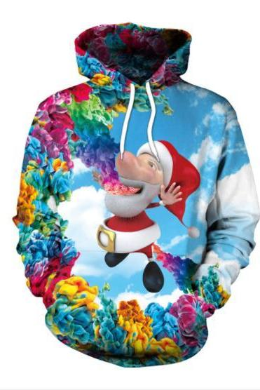Santa Claus Cartoon Digital Print Women Christmas Party Hoodie