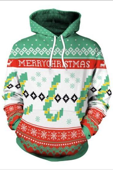 Merry Christmas Digital Print Women Drawstring Party Hoodie