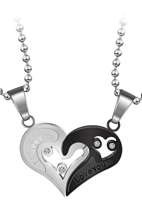 Black And White Titanium Steel Heart Necklace