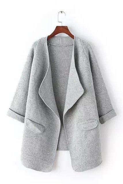 Irregular Lapel Pocket Loose Knitted Cardigan