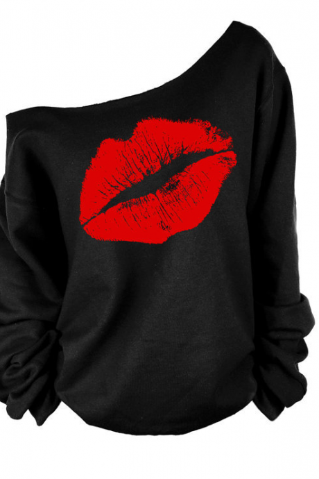 Off Shoulder Lip Print Sweatshirt T-shirt
