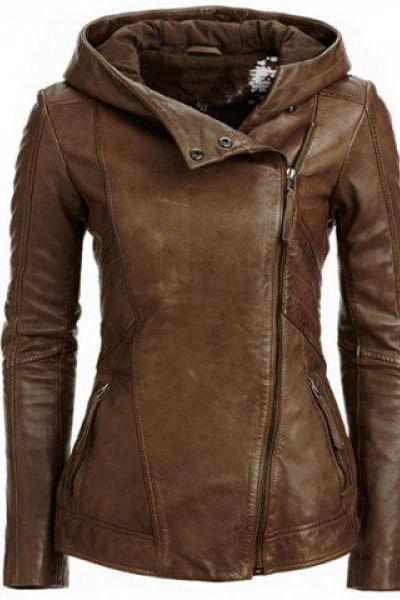 Zipper Hooded PU Womens Jacket