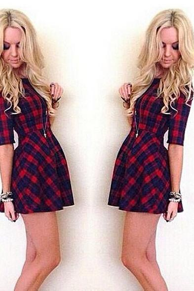 Women Casual Medium Sleeve Round Neck Plaid Dress