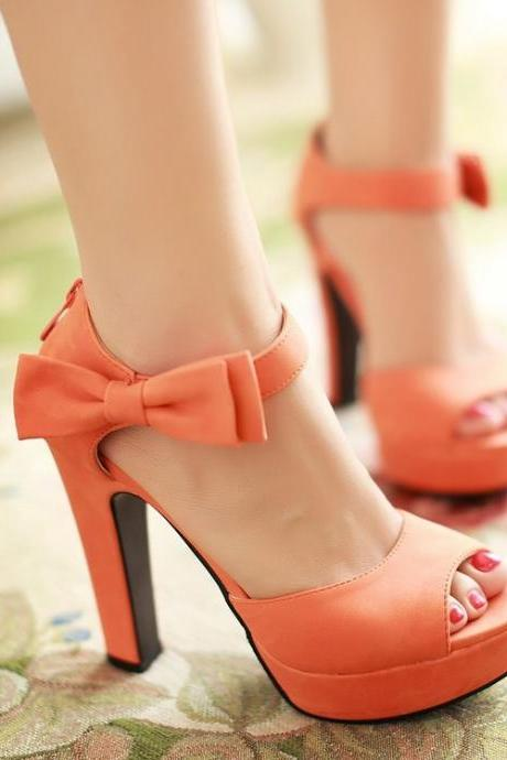 Candy Color Bow Knot Thick Heel Platform Sandals