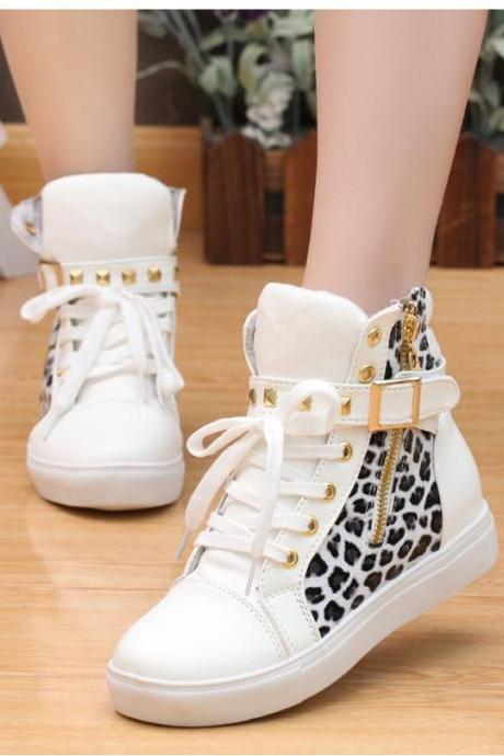 Street Lace Up Rivet Skull Leopard Print Sports Sneakers