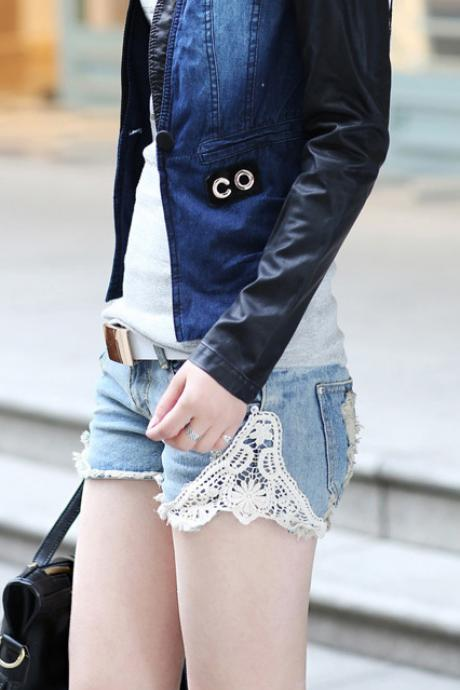 Lace Patchwork Loose Sexy Hole Shorts