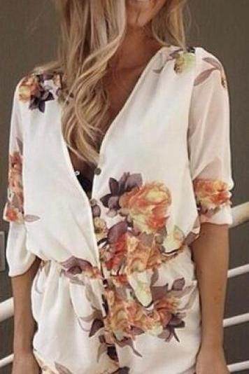 Chiffon Flower Print V-neck Long Sleeves Short Jumpsuits