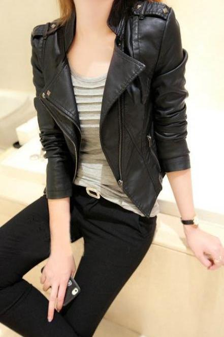 Stand Collar PU Zipper Slim Short Jacket