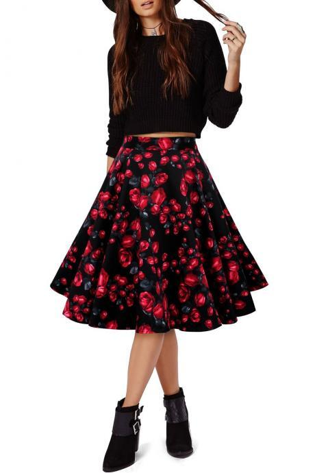 3D Flower Print Flare Ruffled Middle Skirt