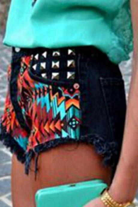 High Waist Retro Flower Print Rivet Rough Egdes Denim Shorts