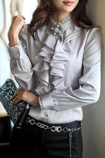 Lace Patchwork Chiffon Falbala OL Long Sleeves Blouse