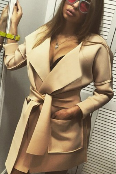 Camel Off Shoulder Lapel Belt Pockets Long Coat