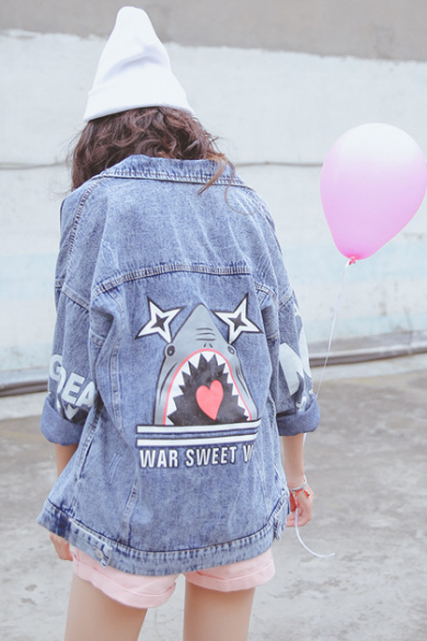 Medium Washed Oversized Denim Jacket Featuring Shark Print