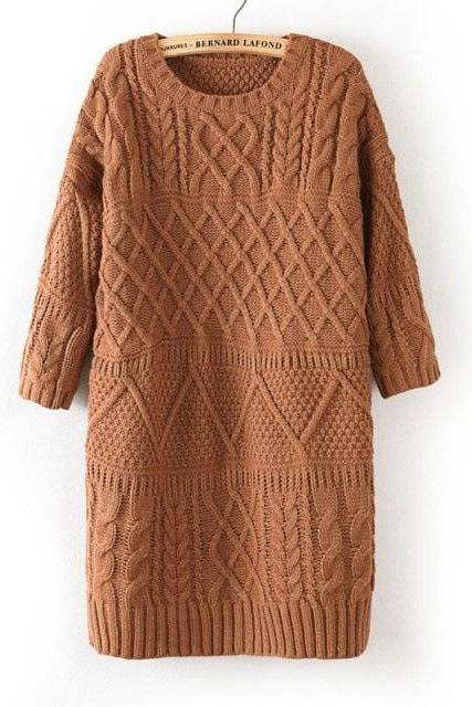 Diamond Cable Retro Knit Long Pullover Sweater