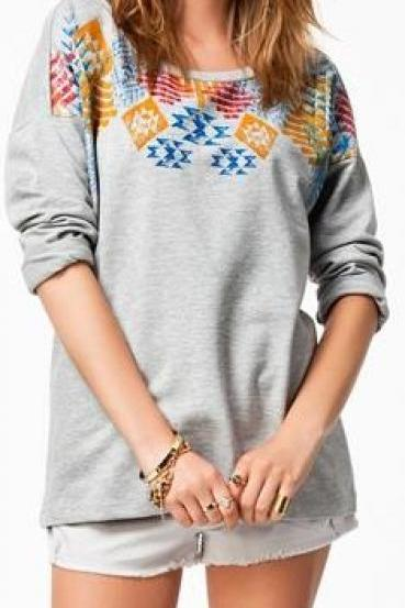 Scoop Long Sleeves Flower Print Casual Sweatshirt
