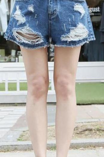 High Waist Ripped Hole Wide Leg Denim Shorts