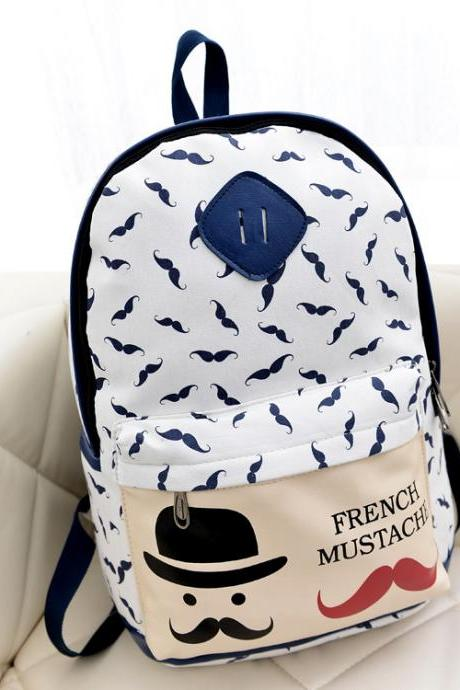 Mustache Print Fashion Backpack School Bag