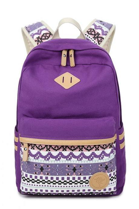 Flower Print Casual Backpack Canvas School Travel Bag