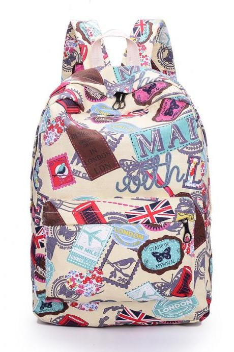 Best Seller Print Backpack Canvas School Travel Bag