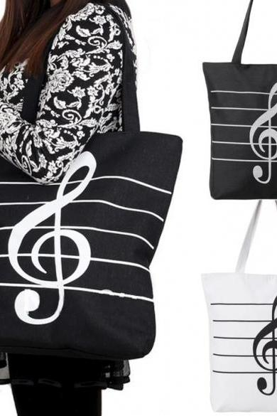Korean Women Girl's Single Shoulder Portable Musical Symbol Canvas Bag Fashion Bag