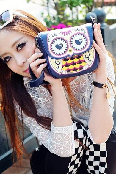 Women Handbag Cartoon Owl Shoulder Bag Messenger Bag