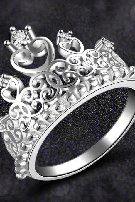 Temperament princess crown ring