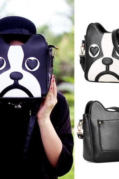 Women's Fashion Cute Dog Shape Cartoon Messenger Bag One Shoulder Bag Handbag