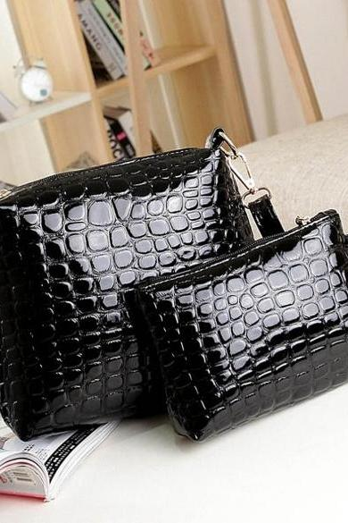 Fashion Women's Artificial Leather Embossed Messenger Bags 2pcs/set Clutch Shoulder/Hand Bag