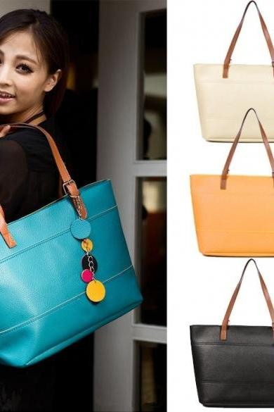 Colour Block Faux Leather Tote Bag with Keychain