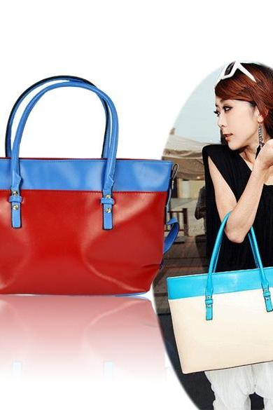 Women's PU Leather Satchel Luggage Tote Bag Handbag