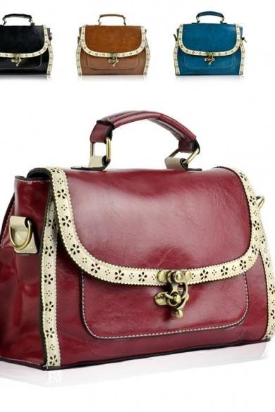 Women's Retro Laciness Decoration Square Messenger Bag Shoulder Bag Handbag
