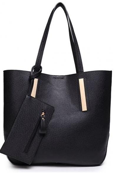 Synthetic Leather Tote Bag with Clutch