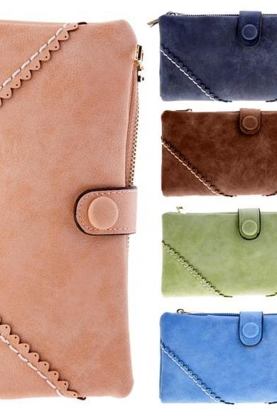 New Women's Fashion Long Wallet Retro Button Handbag Wallet Purse
