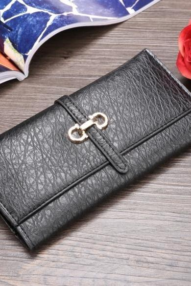 New Women Synthetic Leather Print Long Wallet Soft Casual OL Vintage Style Purse