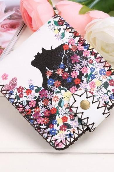 New Women Synthetic Leather Print Wallet Bifold Soft National Style Casual Short Purse