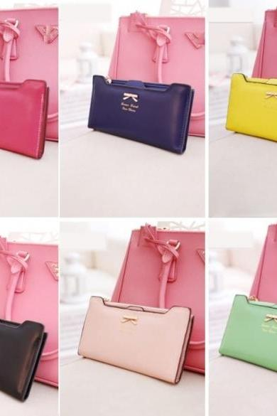 Korean Version of Bow Multi- Card Handbag Long Wallet Clutch