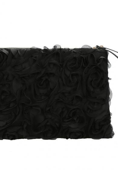 Korea Stylish Casual Women's Lace Rose Pattern Clutch