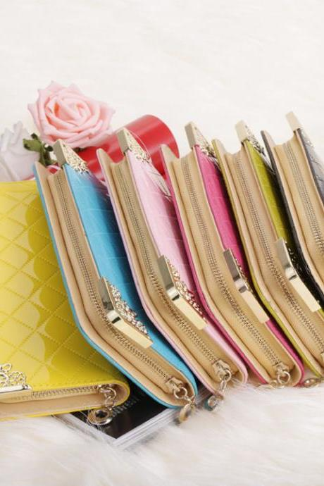 New Fashion Luxury Women's Wallet High Quality Synthetic Leather Purse Casual Long Clutch Bag With Wristlet