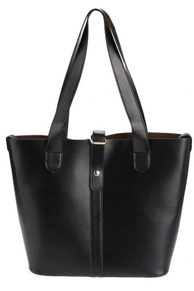 Faux Leather Tote Bag Featuring Slip-In Closure