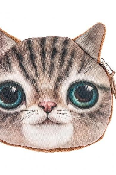 Hot Fashion Women Lady Girl 3D Cat Pattern Coin Purse Wallet Clutch Bag Cute Cat Change Purse