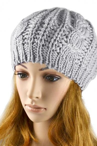 Women Beret Braided Baggy Beanie Crochet Hat Ski Cap
