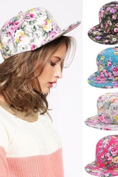 New Floral Flower Snapback Adjustable Fitted Men's Women's Headwear