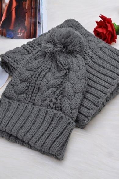 New Fashion Girl's Winter Cap Warm Woolen Blend Knitted Hat&Scarf