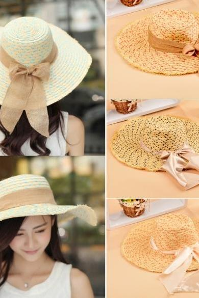 Women Bowknot Hat Wide Large Brim Girl Summer Beach Sun Straw Weave Casual Sun Hat