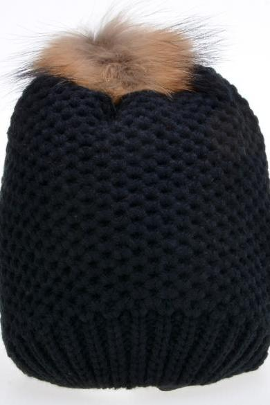 New Fashion Women's Stylish Knit Faux Fur Warm Cap Hat