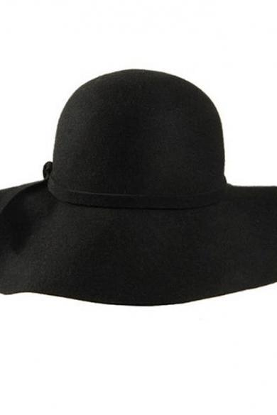 New Fashion Retro Style Lady Women Wide Brim Wool Felt Bowler Fedora Hat Floppy Cloche Black