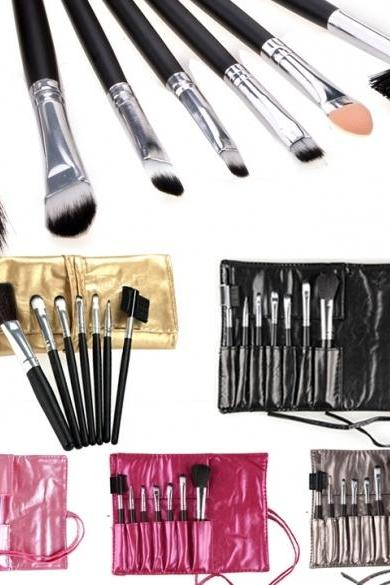 7 PCS Cosmetic Tool Makeup Brush Set Kit With Portable Roll Up Synthetic Leather Case