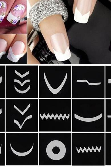 24 Styles Sheet DIY Stickers French Nail Art Tips Tape Guide Stencil Manicure