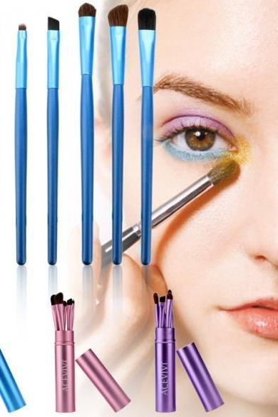 Acevivi New Fashion Professional 5pcs Cosmetic Makeup Tool Brush Set Kit With Alloy Column