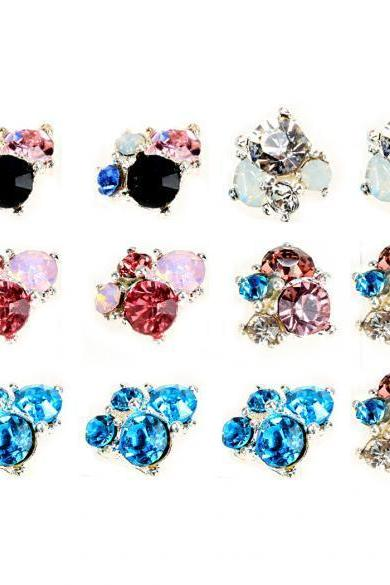 10 Pcs 3D Nail Alloy Jewelry Tips Decoration Glitter Rhinestone Art Nail Decoration